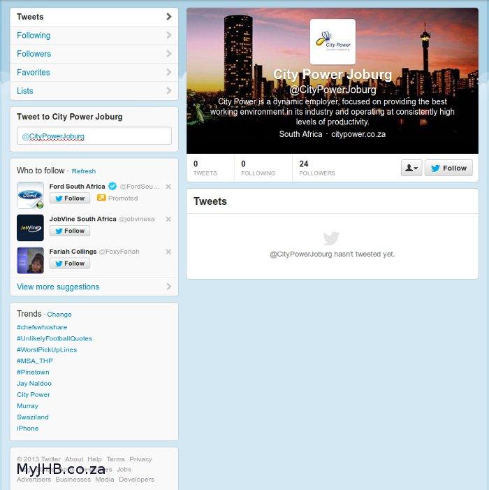 """Fake/Dormant"" City Power Joburg Tweet Account"