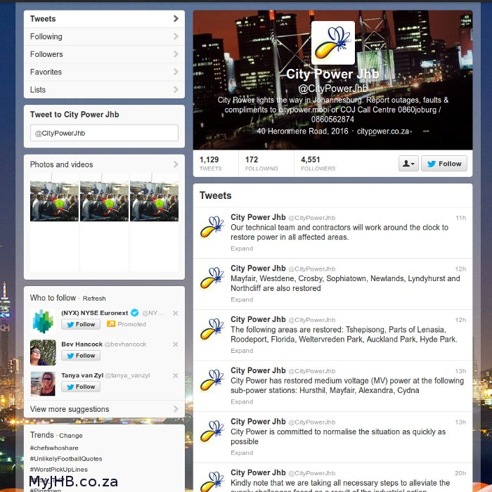 The real City Power JHB Twitter Account