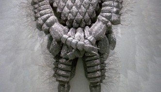 Walter Oltmann, Larva Suit II, 2004. Aluminium wire, 210 x 152 x 50 cm. Private collection. Photo: Standard Bank Gallery