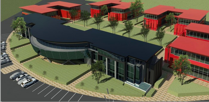 An artist's impression of the modern expansion of Clearwater Office Park along Atlas Road, opposite the site for the OR Tambo Aerotropolis.