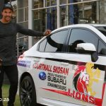 Golden Lions Rugby Star Courtnall Skosan climbs in his Subaru